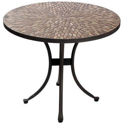 Pebbledash Tile Top 90cm Round Patio Bistro Table. Pebbledash Tile Top 70cm Round Patio Bistro Table