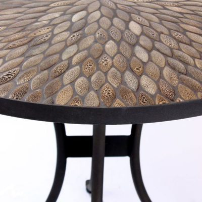Pebbledash Tile Top 2 Seater Bistro Set – 90cm Round Table