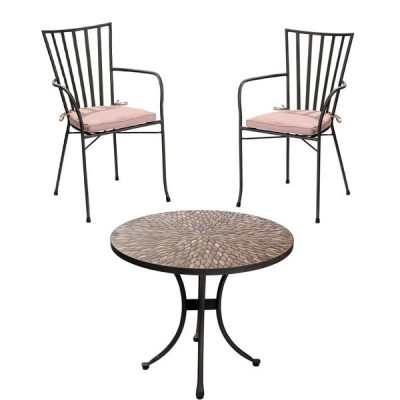 Pebbledash Tile Top 2 Seater Patio Bistro Set