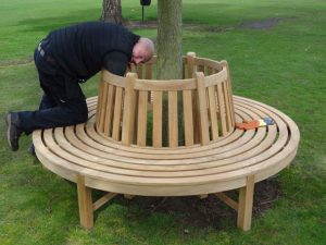 Outstanding delivery service in which your health and safety come first- Teak tree bench installation