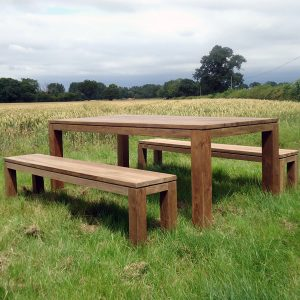 Sampson Reclaimed Teak Large Garden Table Backless Bench Set