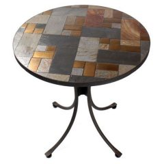 Slasto Tile Mosaic 2 Seater Patio Bistro Set – 90cm Round Table