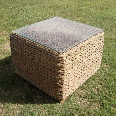 Bude Glass Top Outdoor Rattan Square Garden Side Table