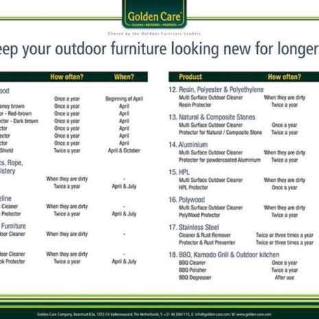 Golden Care Outdoor Furniture Cleaning Calendar