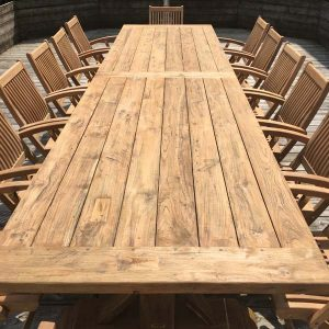 Hockney Extra Large 4m Reclaimed Teak Dining Table - Close Up