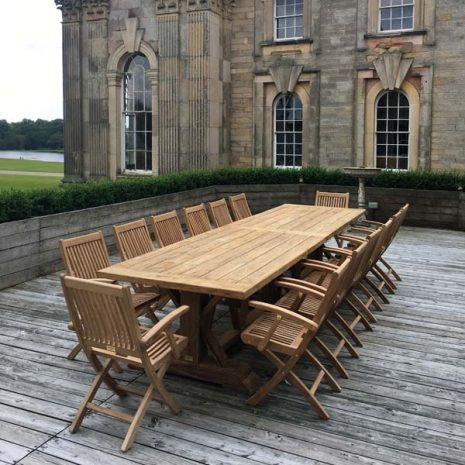 Hockney Extra Large 4m Reclaimed Teak Dining Table & Gainsborough Folding Teak Armchairs at Castle Howard