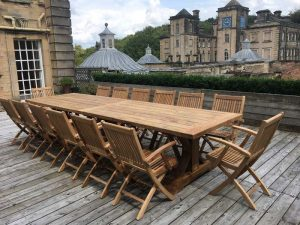 Hockney Extra Large 4m Reclaimed Teak Dining Table with Gainsborough Folding Teak Armchairs at Castle Howard, Yor