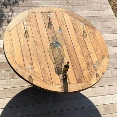Hockney 180cm Round Reclaimed Teak Garden Dining Table