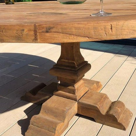 Hockney 180cm Reclaimed Teak Round Garden Dining Table 6