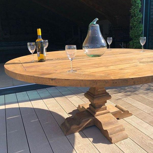 Hockney 180cm Reclaimed Teak Round Garden Dining Table 6