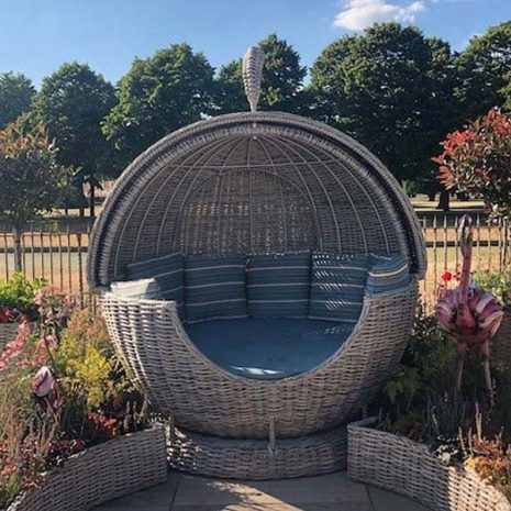 Poole Rattan Apple Day Bed with Blue Pinstripe Cushions