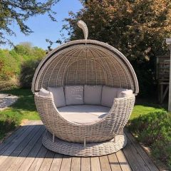 Poole Rattan Apple Day Bed with Sandstone Cushions