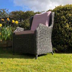 Rye Dark Rattan Outdoor Dining Armchair