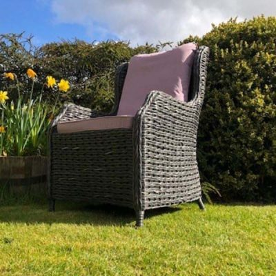 Rye Dark Rattan Outdoor Dining Armchair