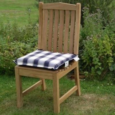 Small Outdoor Single Seat Cushion Blue Check