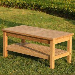 Wordsworth Rectangular Teak Garden Coffee Table With Storage Shelf 1m