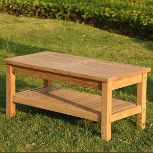 Wordsworth Rectangular Teak Garden Coffee Table With Storage Shelf 1m