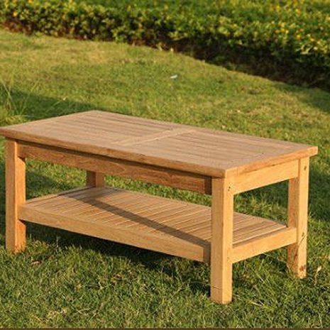 Wordsworth Rectangular Teak Garden Coffee Table With Storage Shelf and removable legs