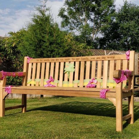 Wordsworth Solid Teak Garden Bench 180cm Engraved 5 seater