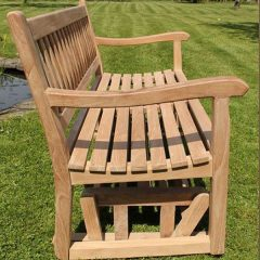 130cm Teak Garden Rocking Bench