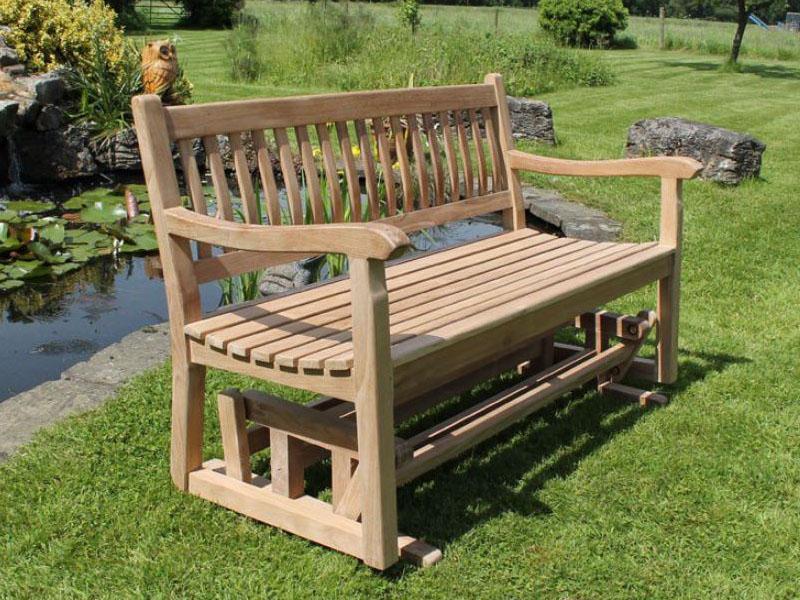 Surprising 130Cm Teak Garden Rocking Bench Squirreltailoven Fun Painted Chair Ideas Images Squirreltailovenorg