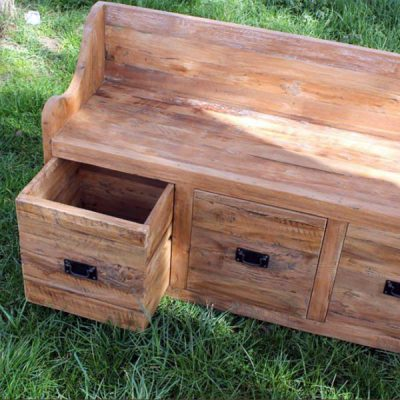 Larkin Reclaimed Teak Garden Storage Bench Seat 160cm. Larkin Reclaimed Teak Garden Storage Bench Seat 120cm