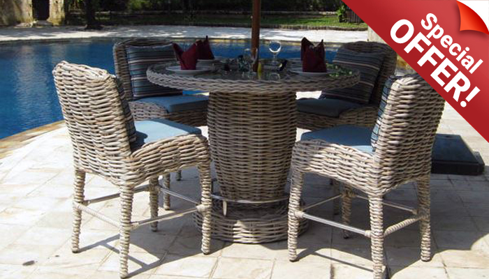 Poole Outdoor Rattan Garden Furniture Bar Set Special Offer