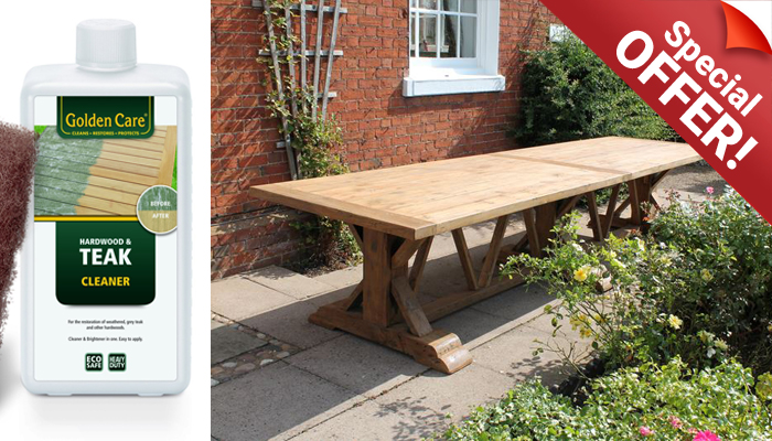 Reclaimed Teak Table Golden Care and Weather Cover Special Offer