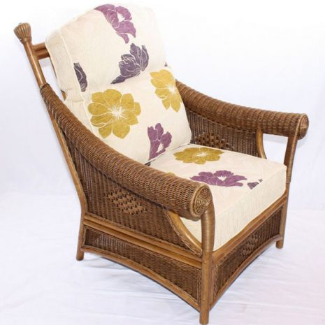 Brown Wicker Cane Conservatory Armchair Set 3 quarter view