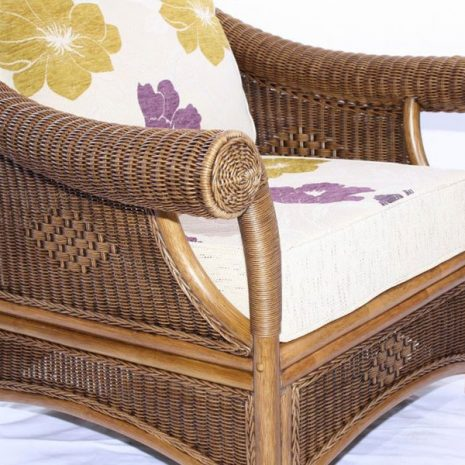 Brown Wicker Cane Conservatory Armchair Set Detail