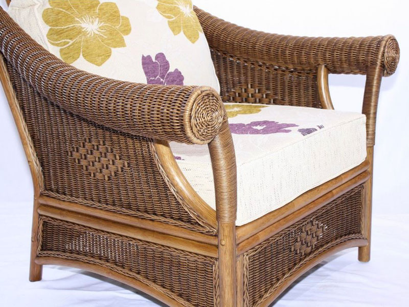 Brown Wicker Cane Conservatory Armchair Set Luxury Cushions