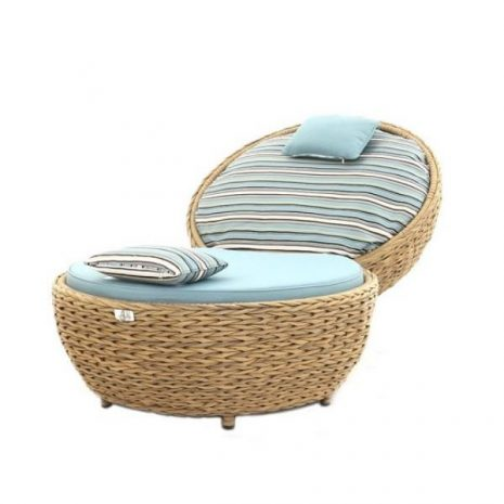Bude Synthetic Water Hyacinth Rattan Apple Lounger Chair