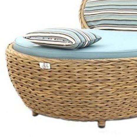 Bude Synthetic Water Hyacinth Rattan Apple Lounger Chair CLose up