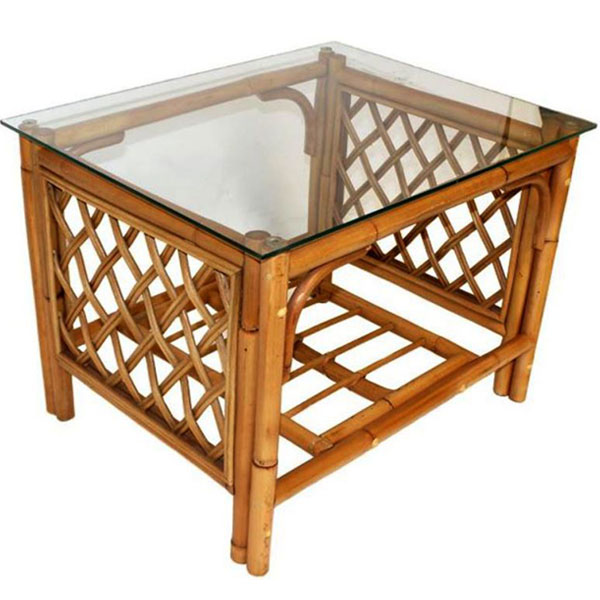 Brown Cane Conservatory Coffee Table Glass Top