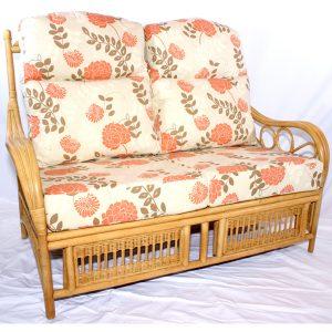 Garnet Natural Cane Rattan Conservatory 2 Seater Sofa Plus Luxury Cushions - three quarter view