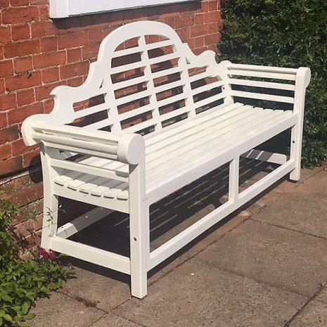 Lutyens Painted Garden Bench 150cm Beige