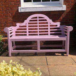 Lutyens Painted Garden Bench 180cm. Pink Lutyens garden Bench. Lutyens Pink Garden Bench 150cm