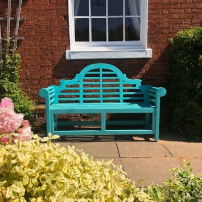 Lutyens Painted Garden Bench Turquoise Front View
