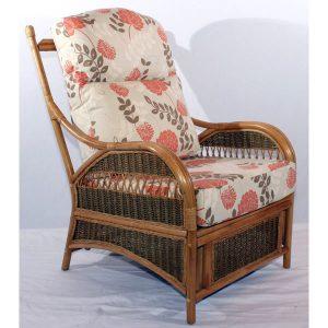 Monica Brown Cane Rattan Conservatory Armchair - Three quarter view