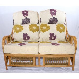 Monica Natural Cane Rattan 2 Seater Sofa Conservatory