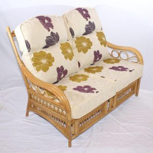 Monica Natural Cane Rattan 2 Seater Conservatory Sofa - three quarter view
