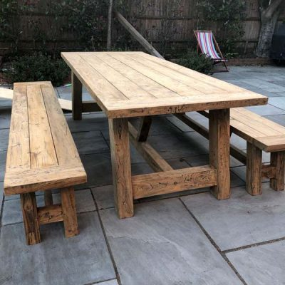 Nash 240cm Reclaimed Teak Table + Backless Bench Set