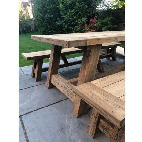 Nash 240cm Reclaimed Teak Table + Backless Bench Set - Close up