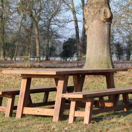 Nash Reclaimed Teak Garden Dining Set - Rectangular Table Plus Two Backless Benches
