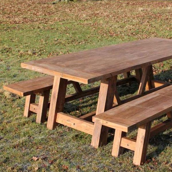 Phenomenal Nash Extra Large Reclaimed Teak Dining Set 3M Rectangular Table Plus Two Backless Benches Ibusinesslaw Wood Chair Design Ideas Ibusinesslaworg