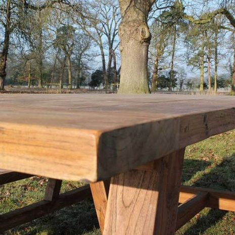 Nash Reclaimed Reclaimed Teak Garden Dining Set - Rectangular Table Plus Two Backless Benches - Close up
