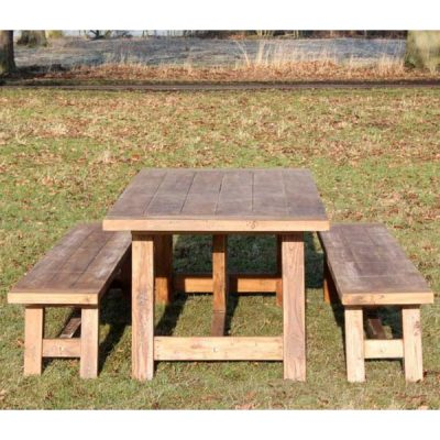 Nash Reclaimed Reclaimed Teak Garden Dining Set - Rectangular Table Plus Two Backless Benches