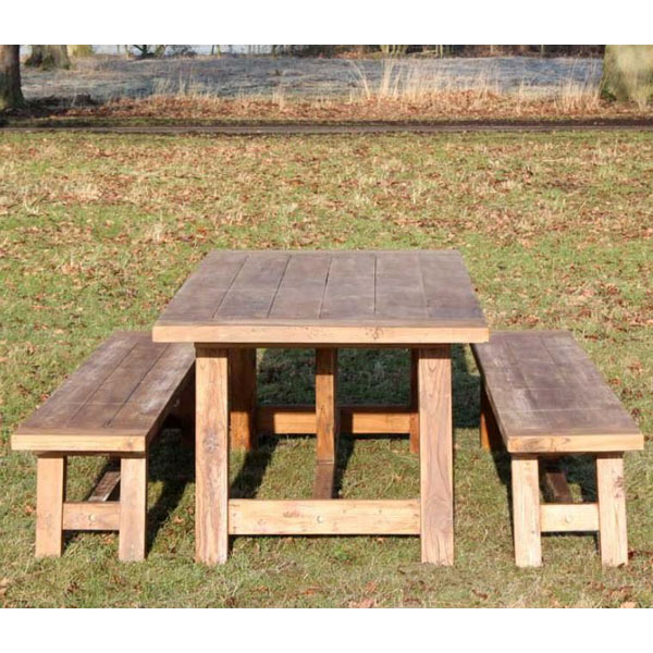 Magnificent Nash Extra Large Reclaimed Teak Dining Set 3M Rectangular Table Plus Two Backless Benches Gamerscity Chair Design For Home Gamerscityorg