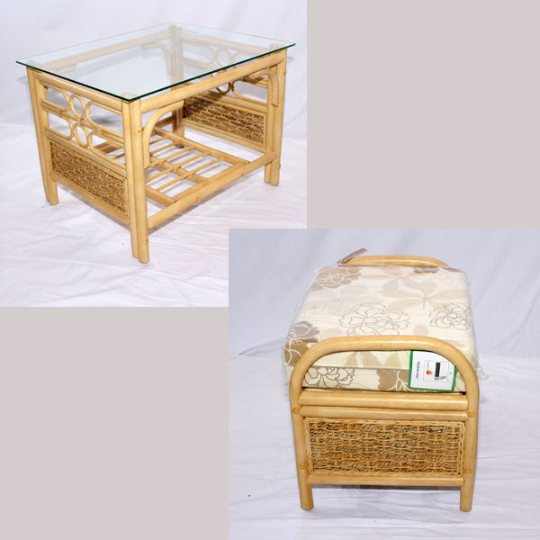 Wicker Coffee Table Indoor Uk: Cane Rattan Conservatory Coffee Table Footstool Set