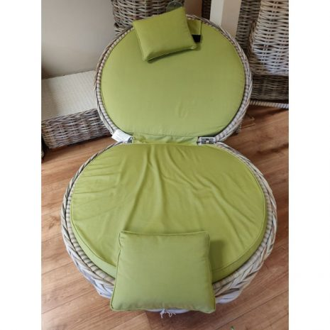 Poole Outdoor Rattan Apple Lounger Chair with Lime Green Cushions